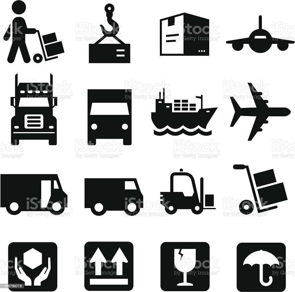 Shipping Icons - Black Series vector art illustration