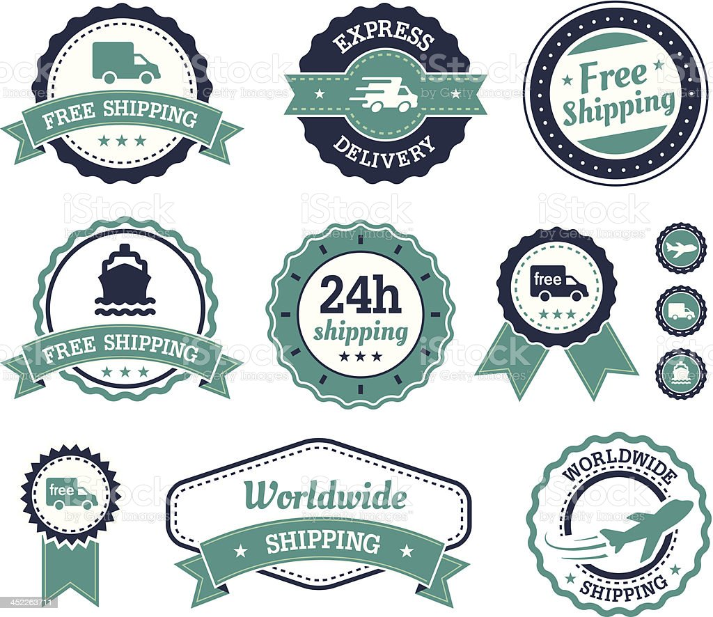 Shipping labels royalty-free stock vector art
