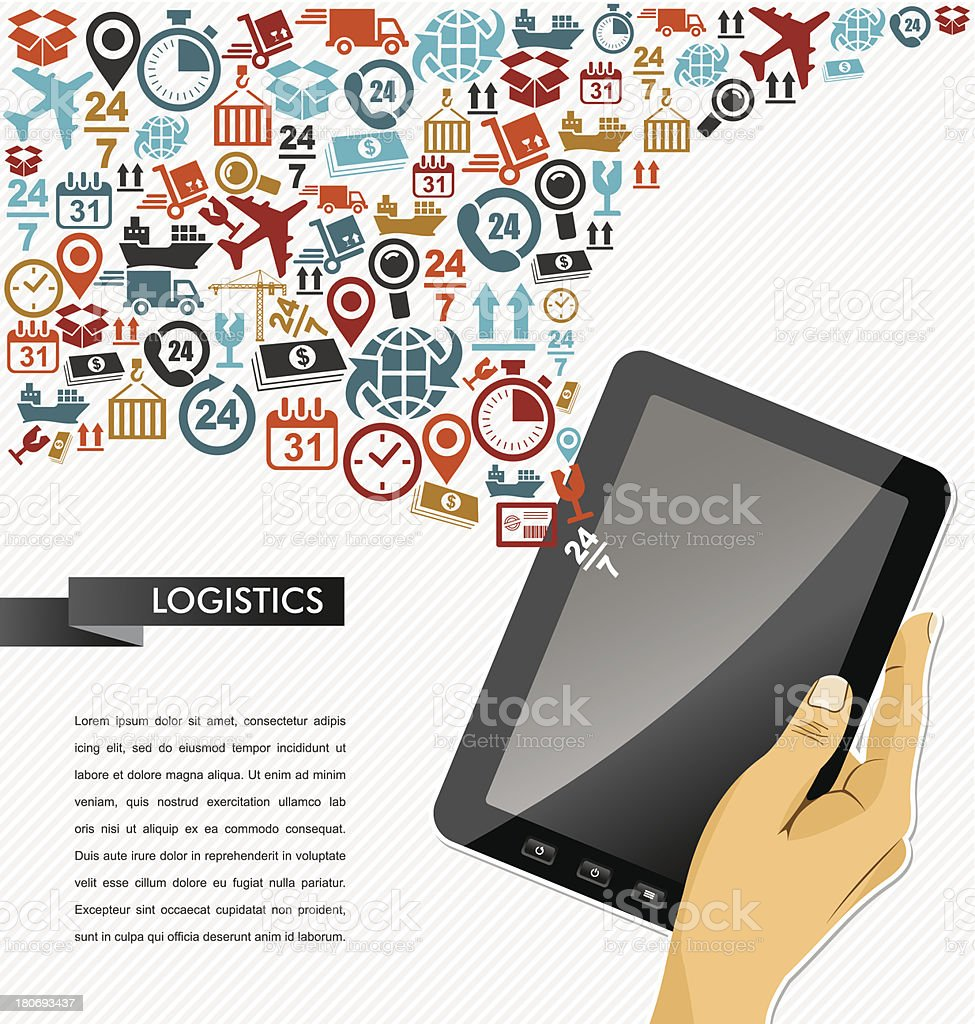 Shipping logistics icons human hand with tablet pc. royalty-free stock vector art