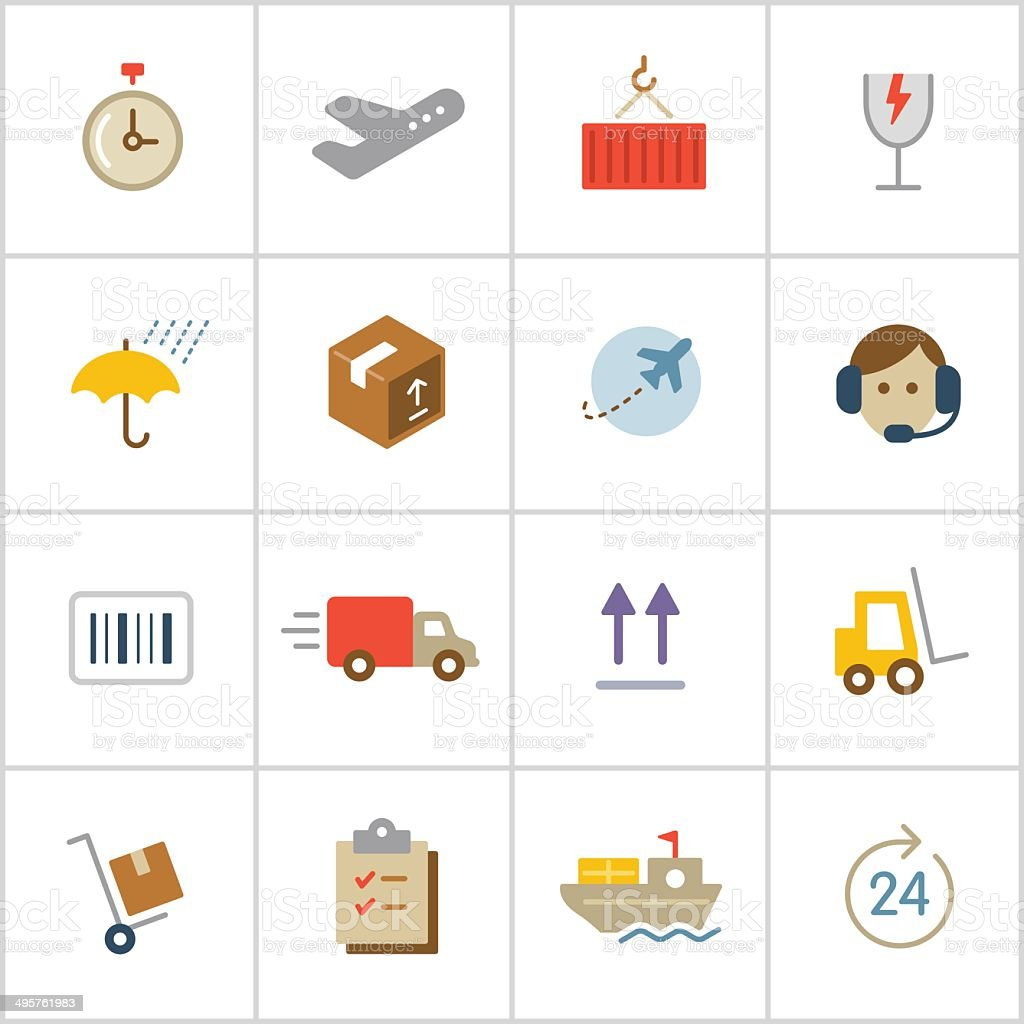 Shipping & Logistics Icons — Poly Series vector art illustration