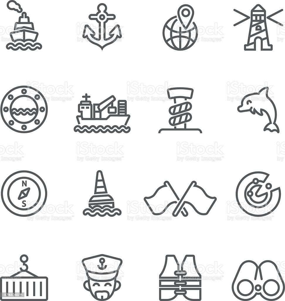 Shipping Port Line icons | EPS10 vector art illustration