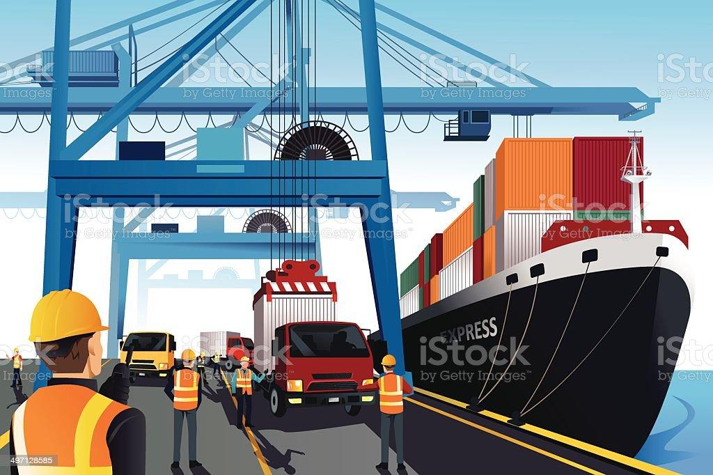 Shipping port scene vector art illustration