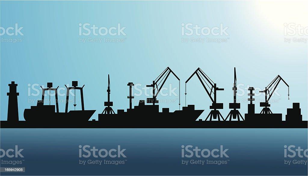 Shipping port silhouette vector art illustration