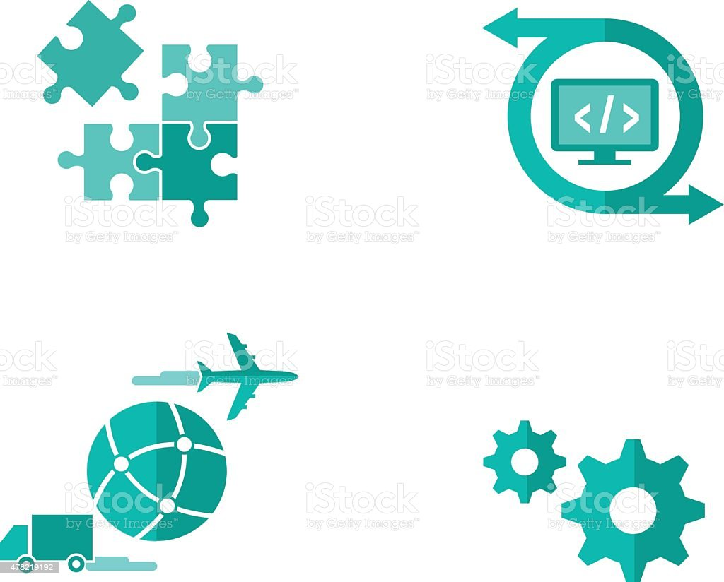 Shipping Software Icons vector art illustration