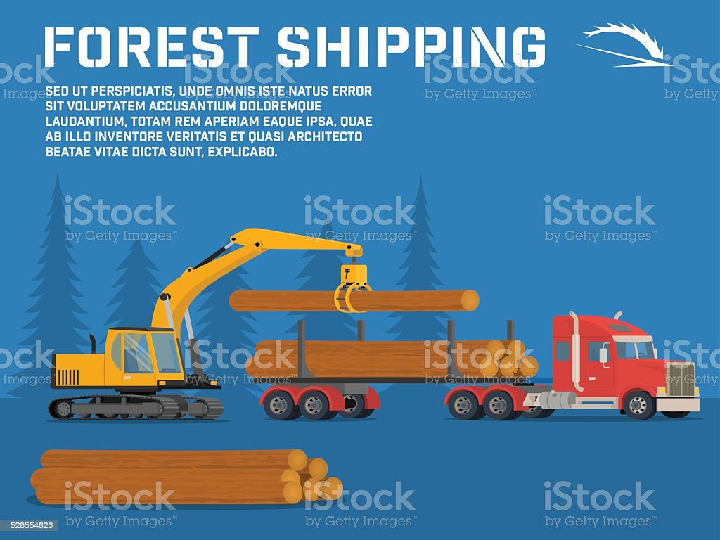 Shipping timber. Loading felled trees in the timber crane vector art illustration