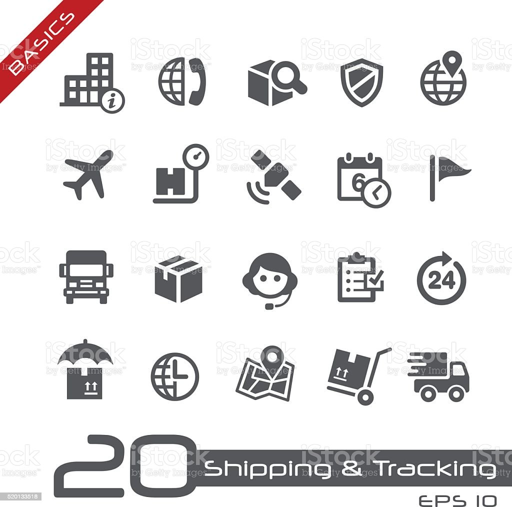 Shipping & Tracking Icons // Basics vector art illustration