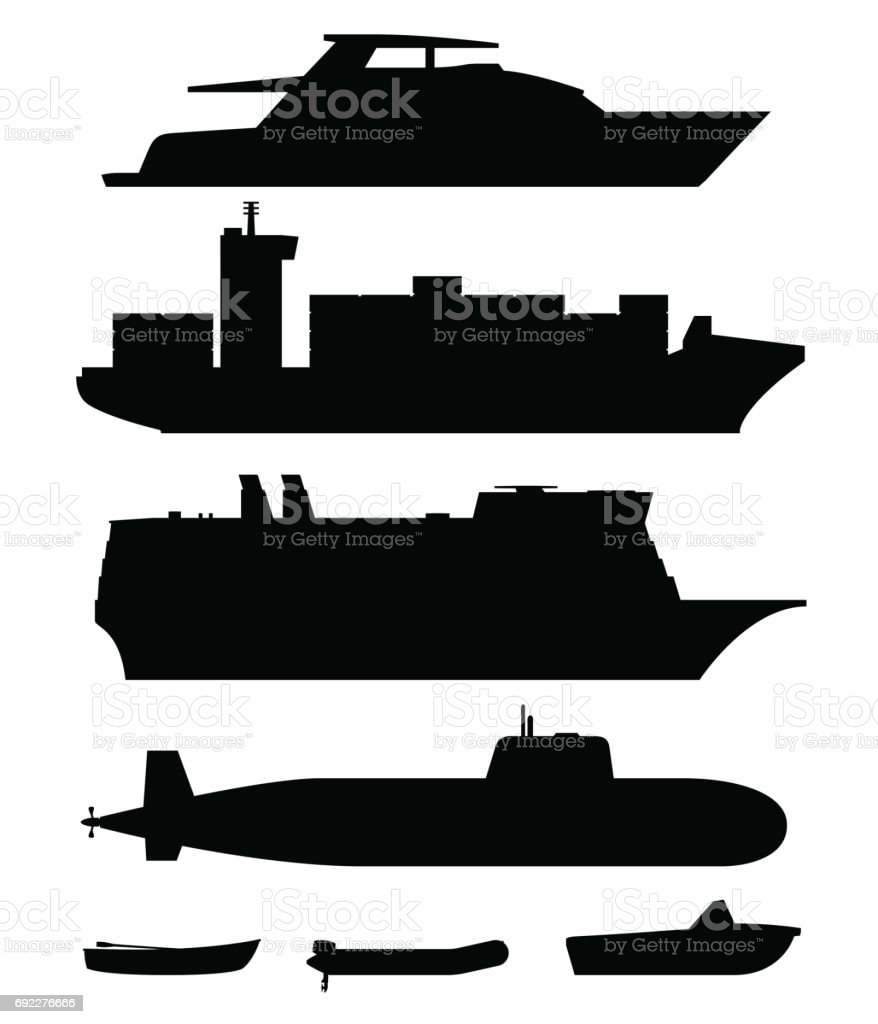 Ships and boats black silhouettes vector art illustration