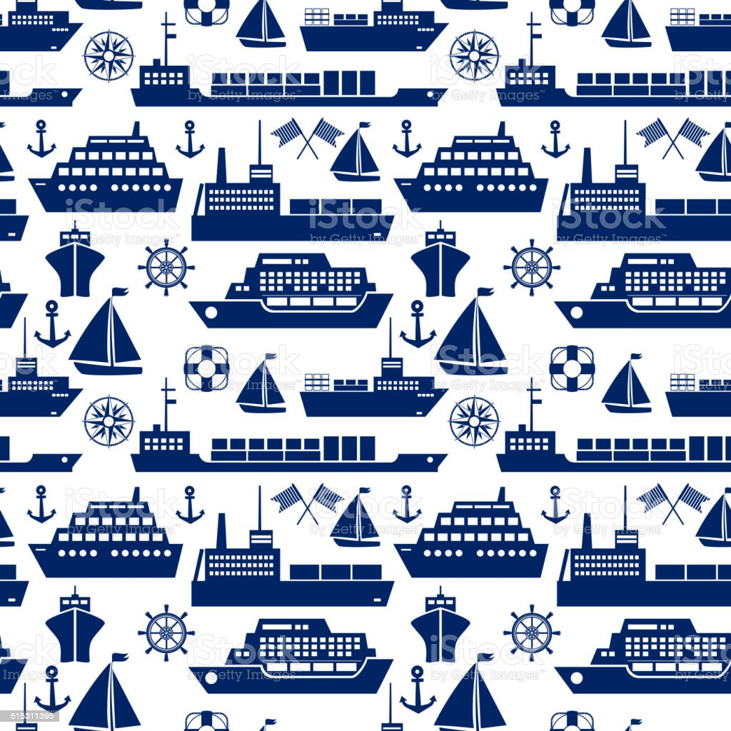 Ships and boats marine seamless background vector art illustration
