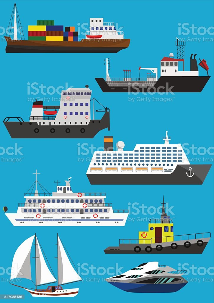 Ships and boats vector art illustration