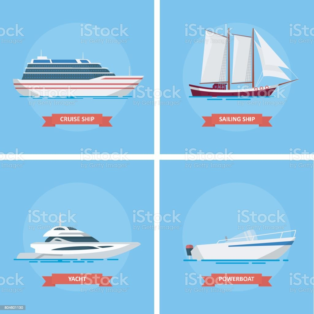 Ships and boats vector set icon in a flat style. vector art illustration