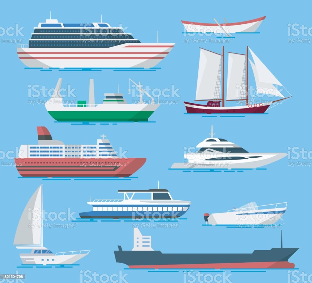 Ships and boats vector set in a flat style. vector art illustration