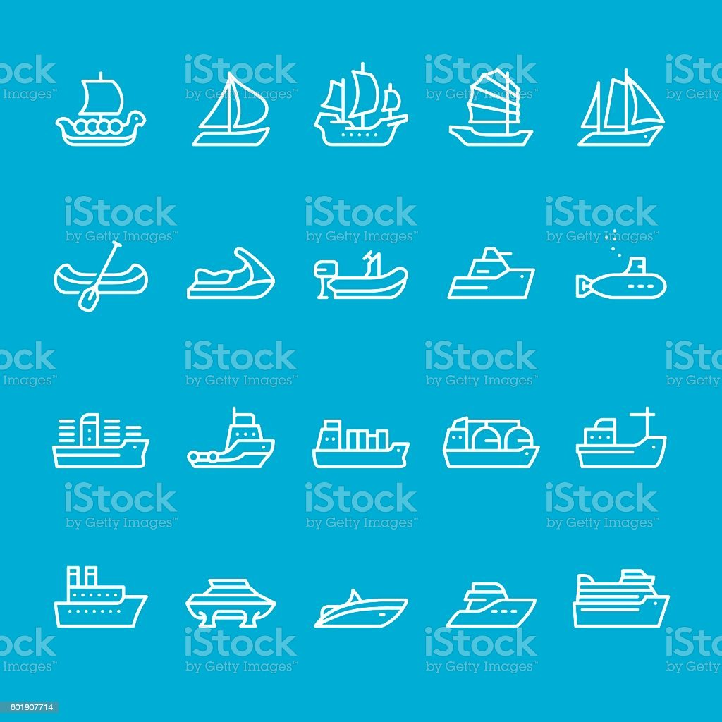 Ships and Nautical Vessel Types vector art illustration