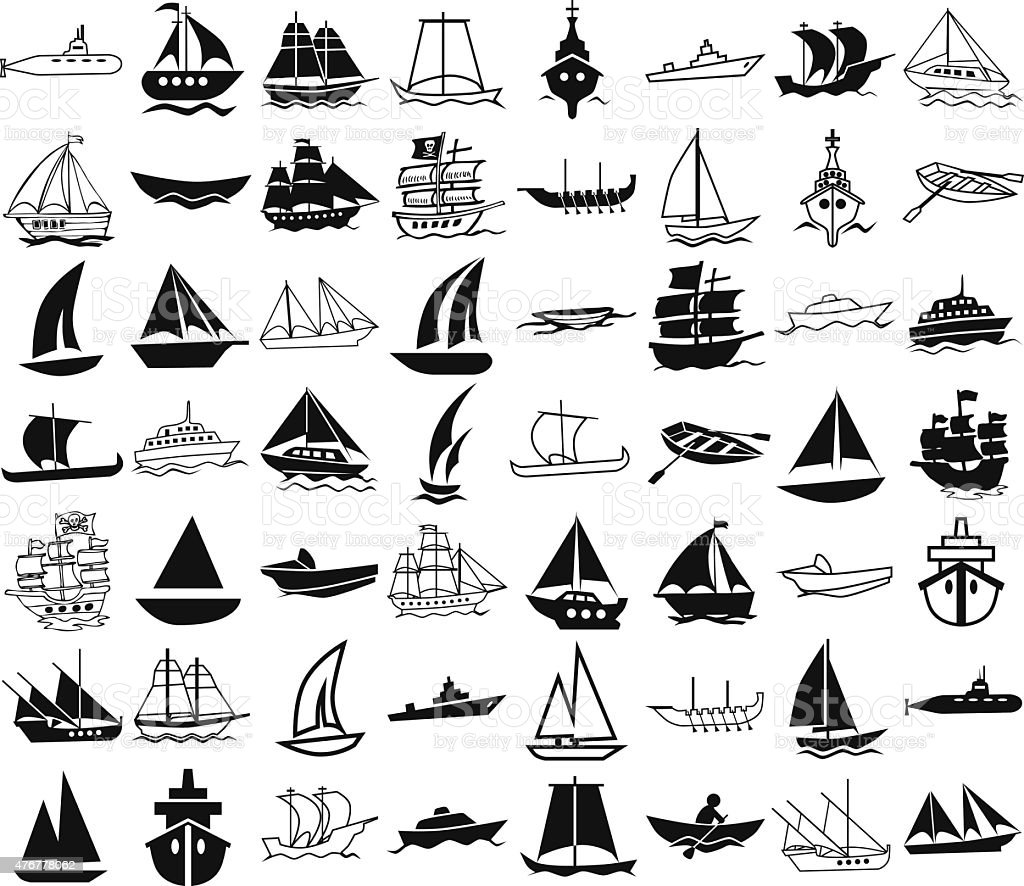 ships icons on white vector art illustration