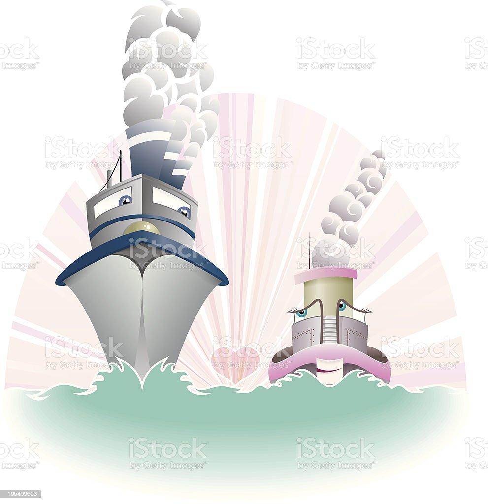 Ships in love royalty-free stock vector art