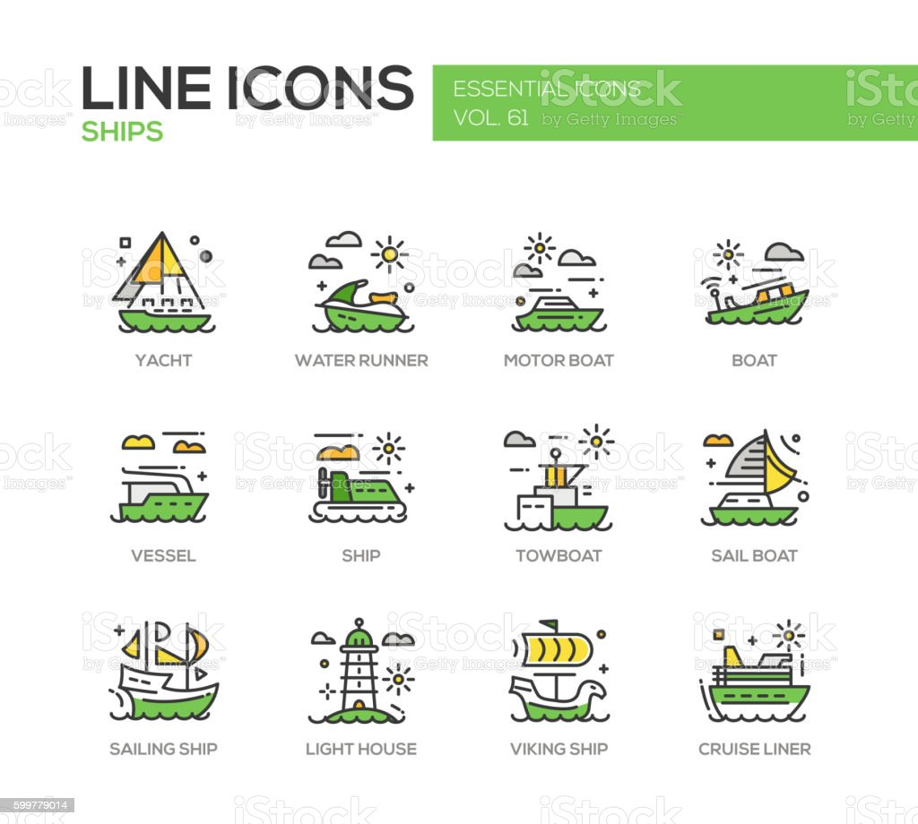 Ships - line design icons set vector art illustration