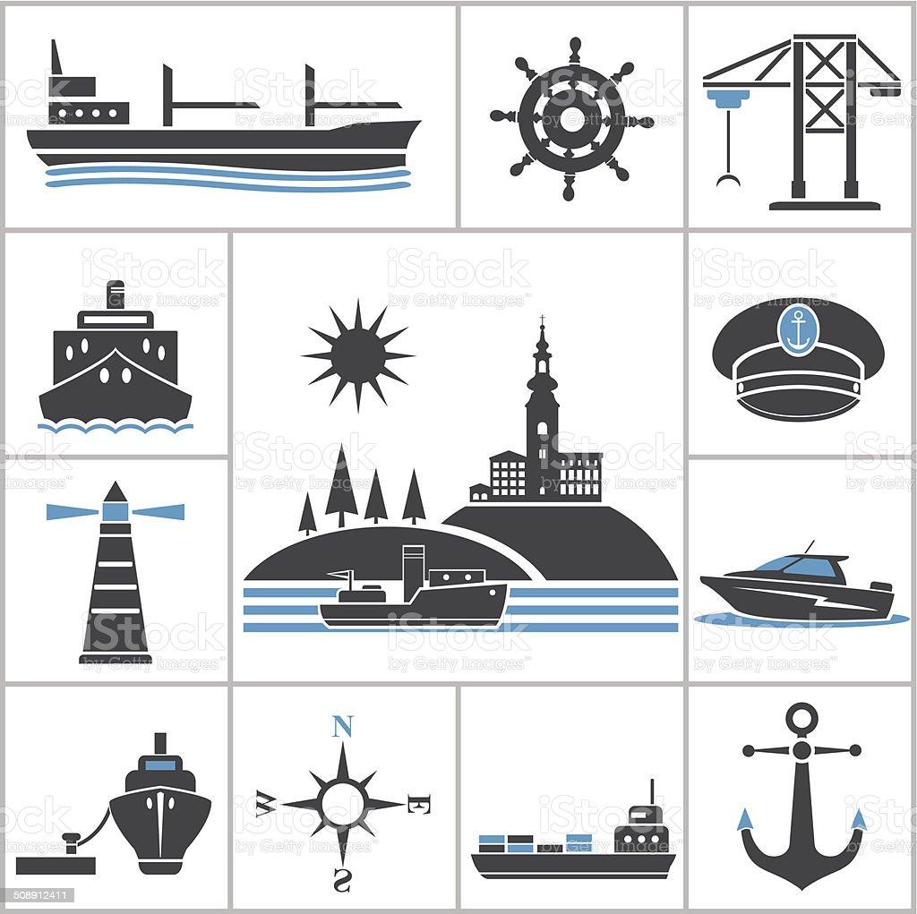 Ships. Set for you design vector art illustration