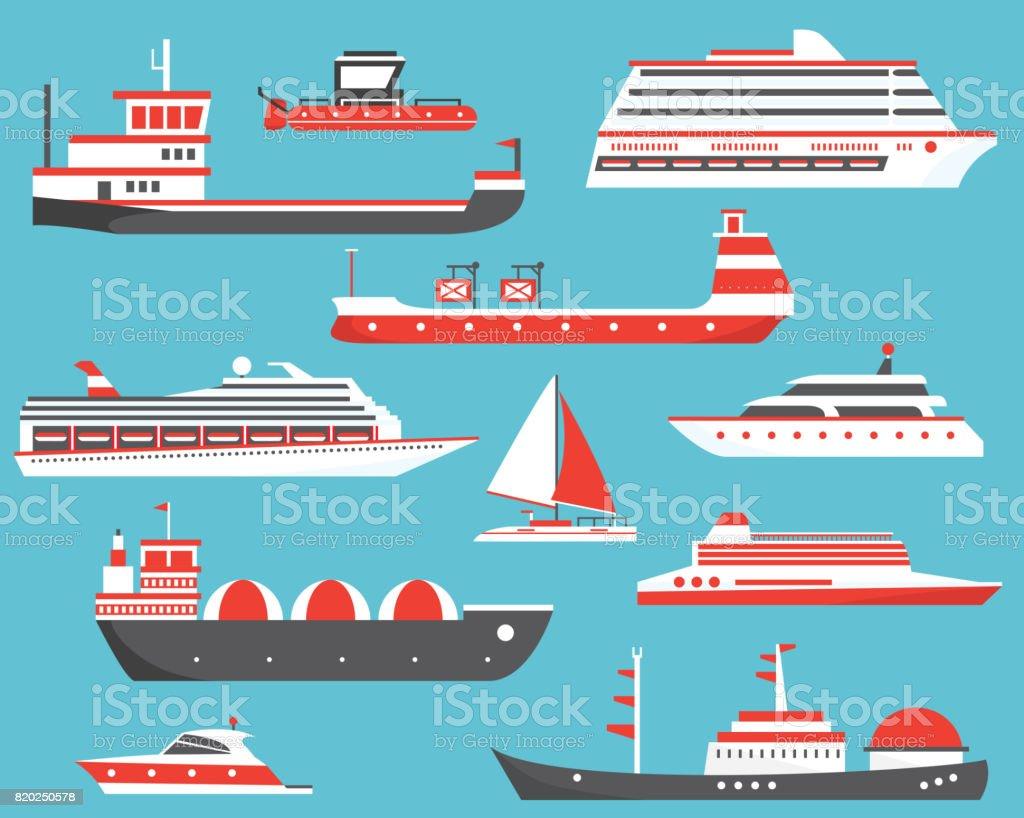 Ships Set. Oil Tanker, Yacht, Bulk Carrier, Gas Tanker and Passenger Cruise Ship. vector art illustration