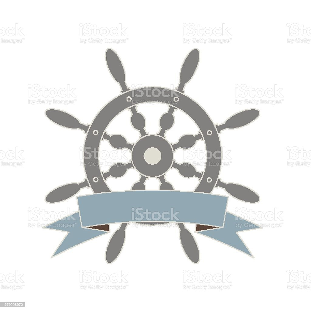 Ship's wheel and a banner ribbon vector art illustration
