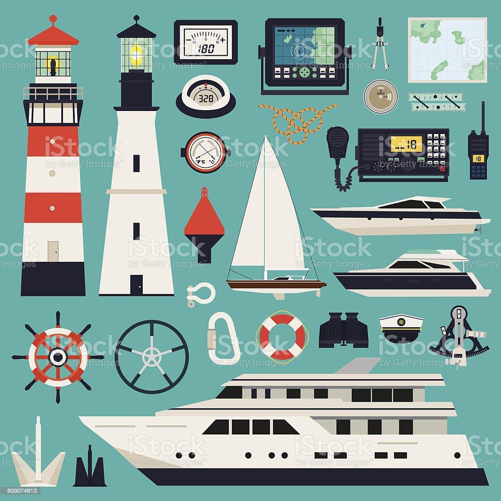 Ships - Yachts and equipment vector art illustration