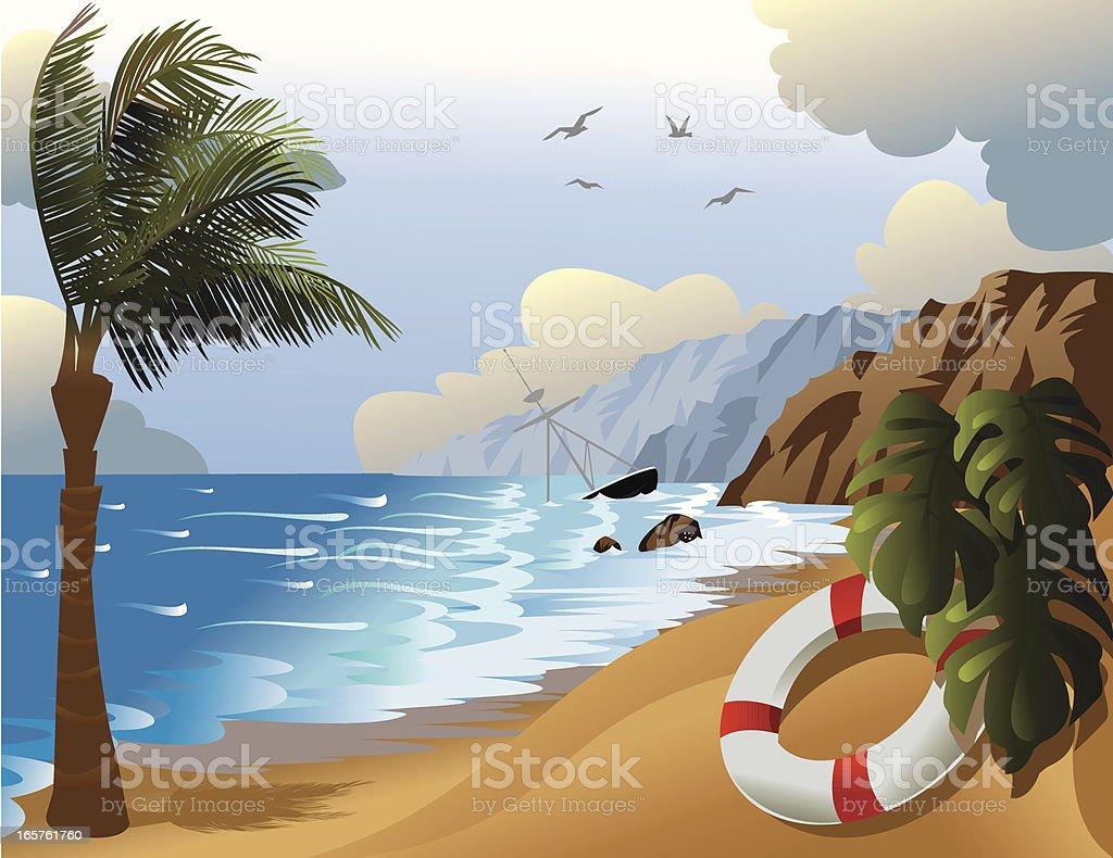 Shipwreck on tropical island vector art illustration