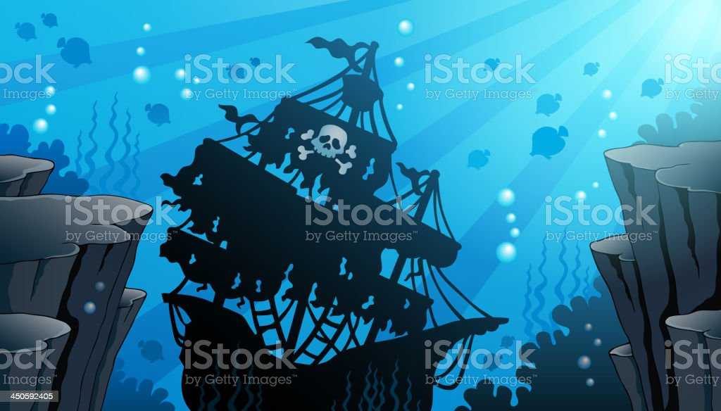 Shipwreck theme image 1 vector art illustration