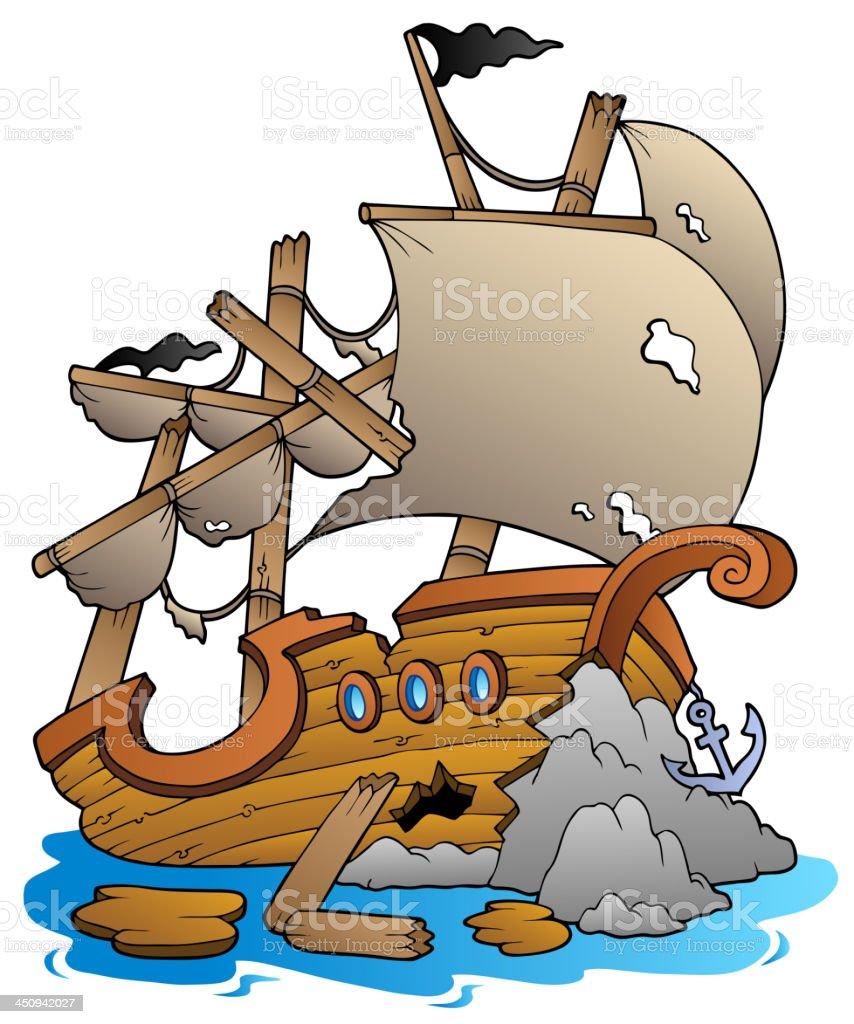 Shipwreck with rocks vector art illustration