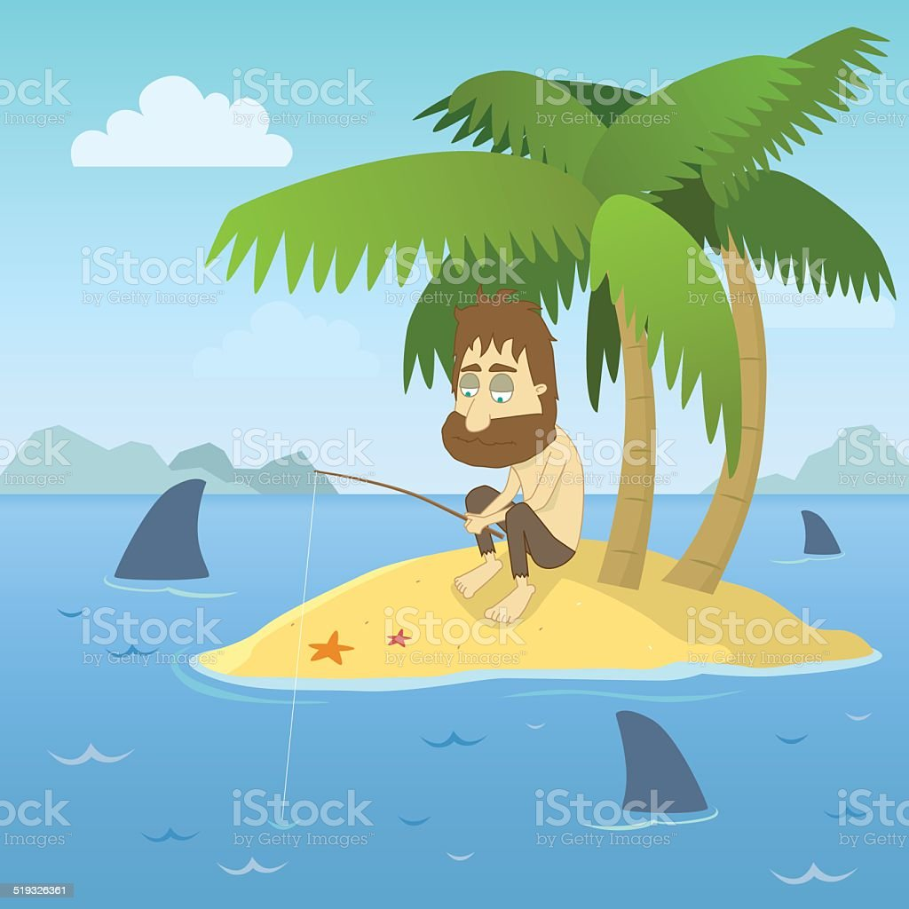 Shipwrecked Guy vector art illustration