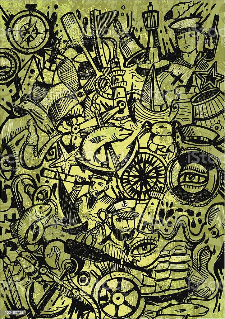 shipyard doodle vector art illustration