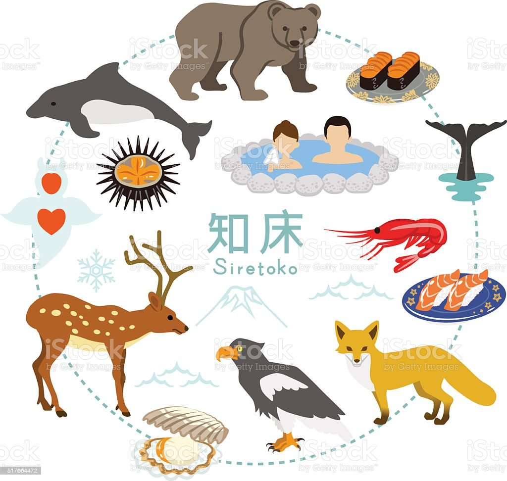 Shiretoko Tourism - Flat icons vector art illustration