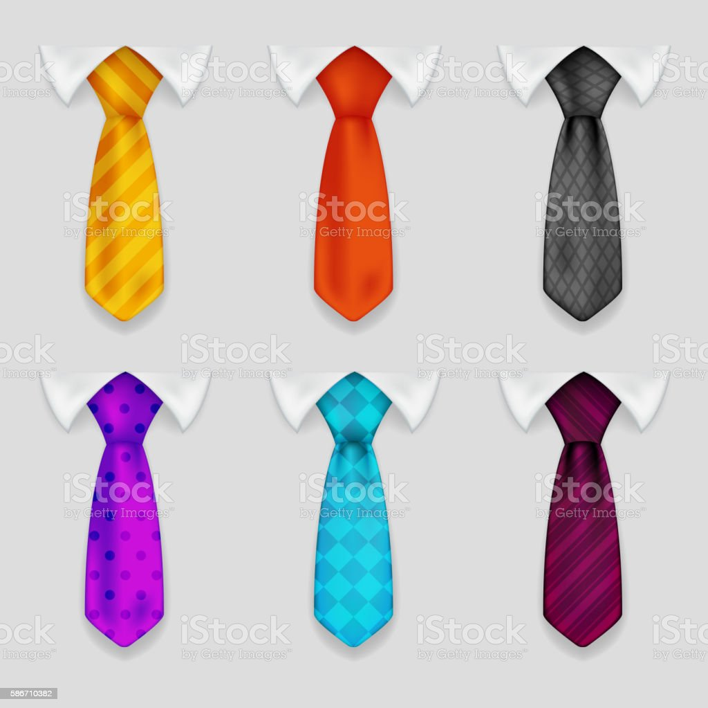 Shirt and tie realistic icons set bacground 3d design vector vector art illustration
