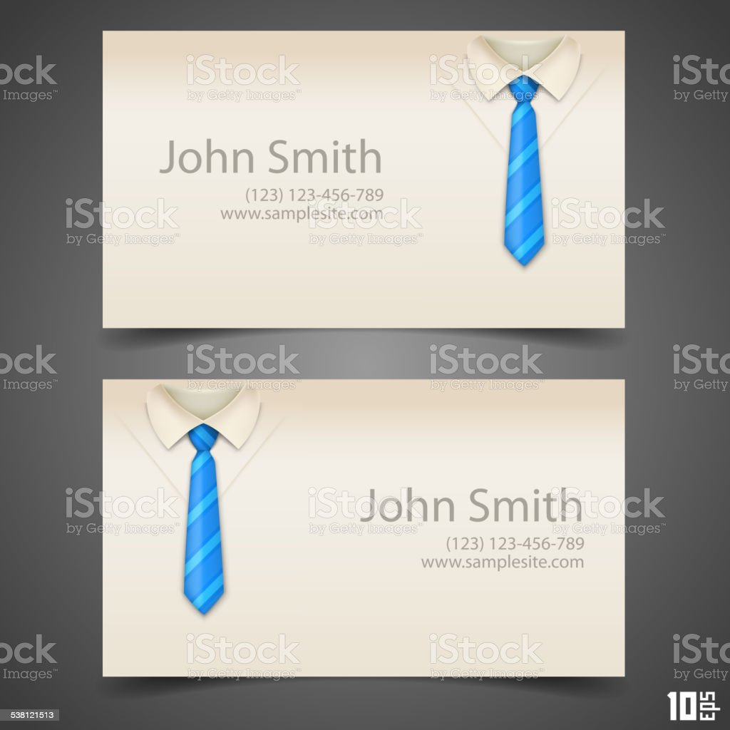 Shirt and tie vector business card vector art illustration
