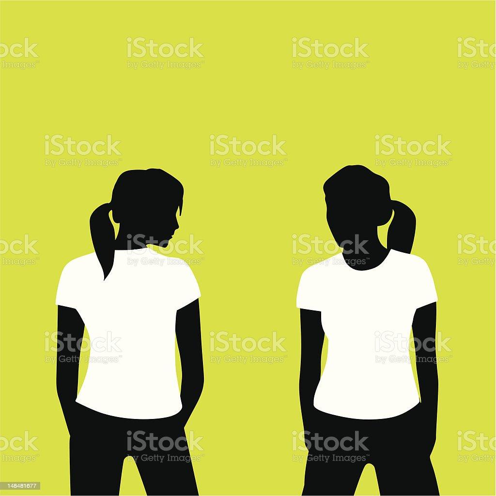 shirtgirl back front vector art illustration
