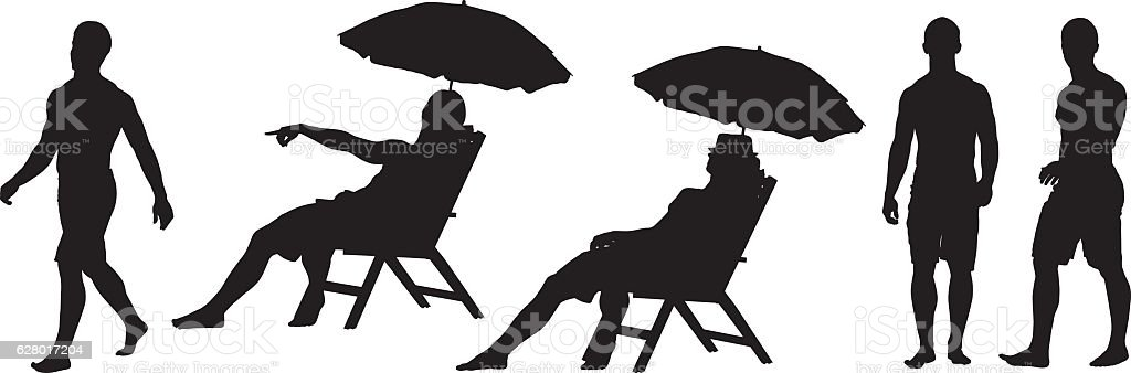 Shirtless man in various actions vector art illustration