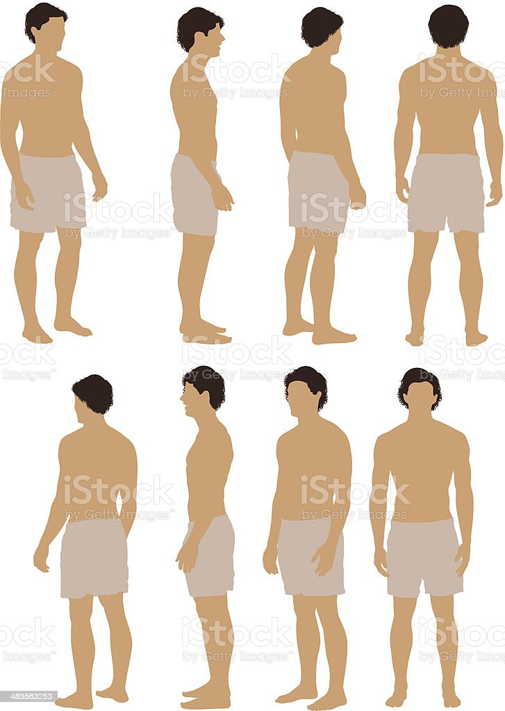 Shirtless man posing vector art illustration