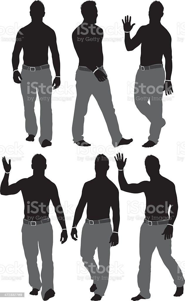 Shirtless man walking royalty-free stock vector art