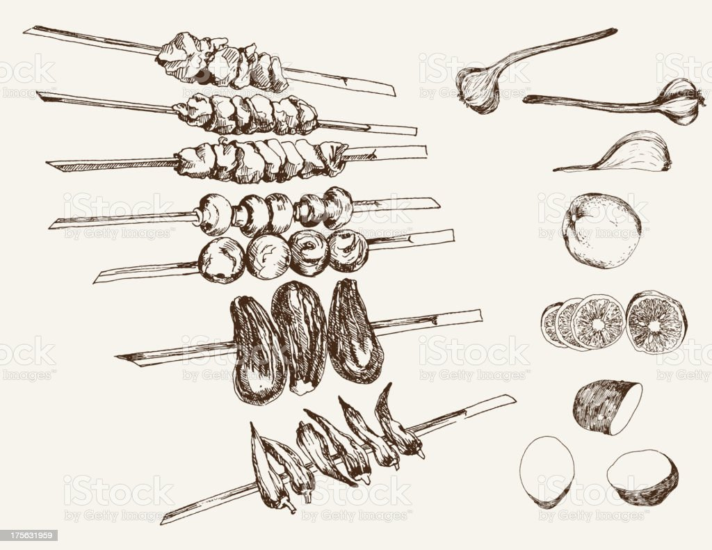 shish kebab on skewers vector art illustration
