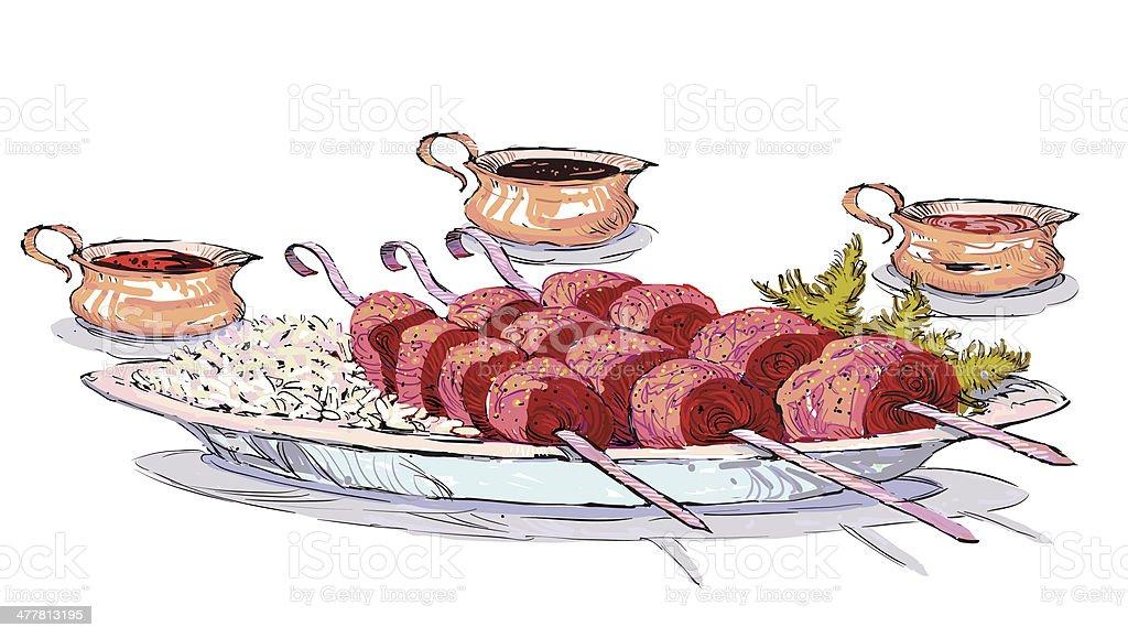 Shish-kebab royalty-free stock vector art