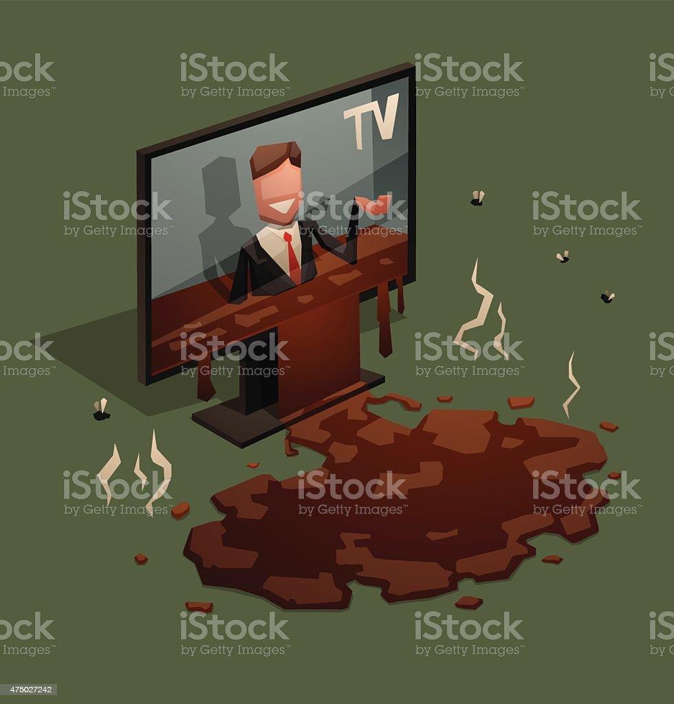 Shit from TV vector art illustration