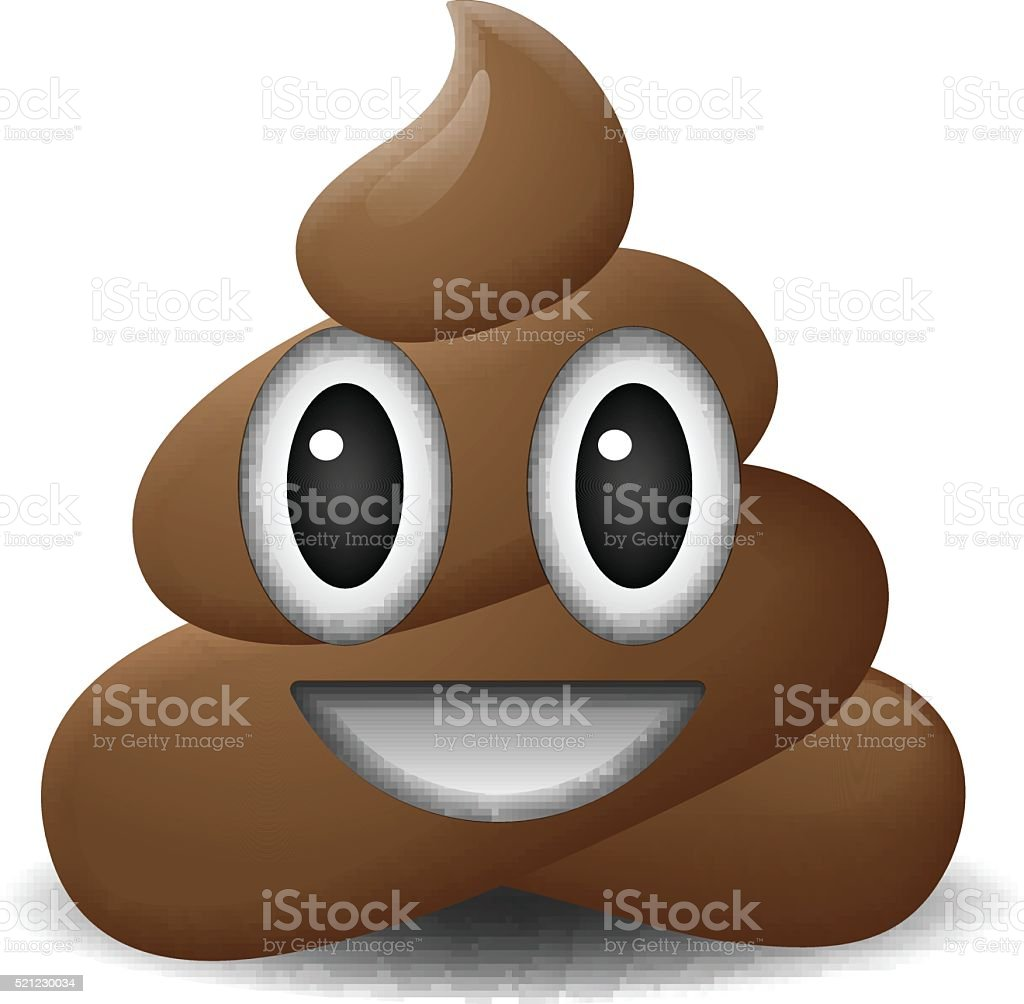 Shit icon, smiling face, symbol, emoji vector art illustration