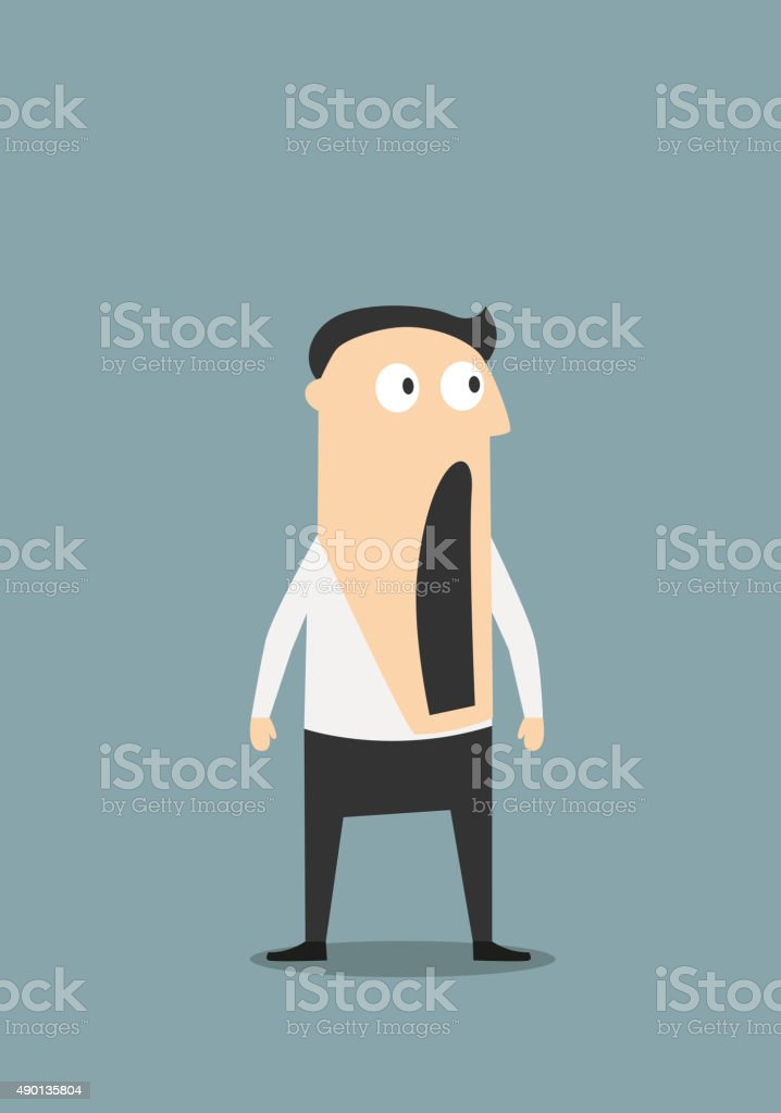 Shocked businessman with open mouth vector art illustration