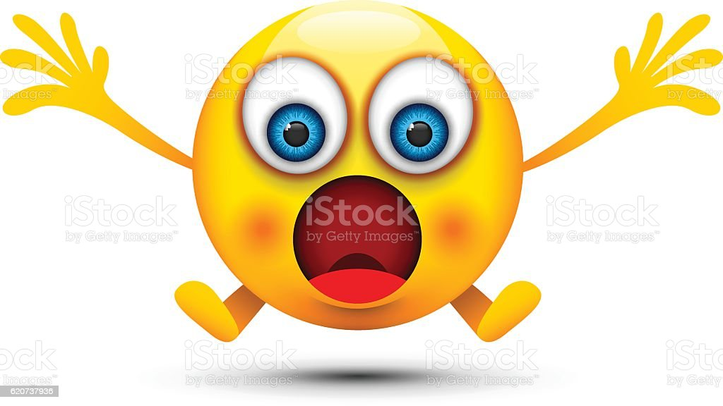 shocked emoji character vector art illustration