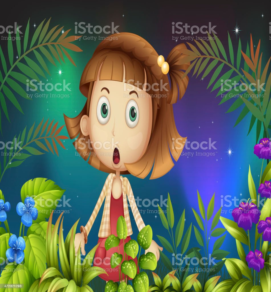 Shocked face of a little girl royalty-free stock vector art
