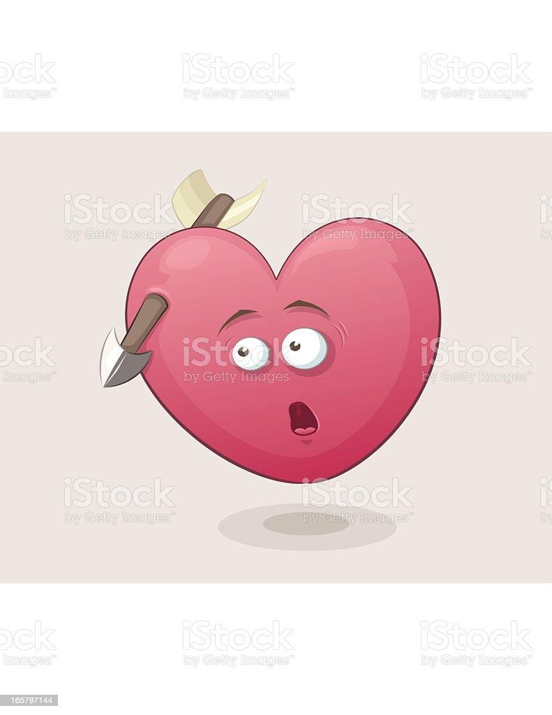 Shocked Heart With Arrow vector art illustration