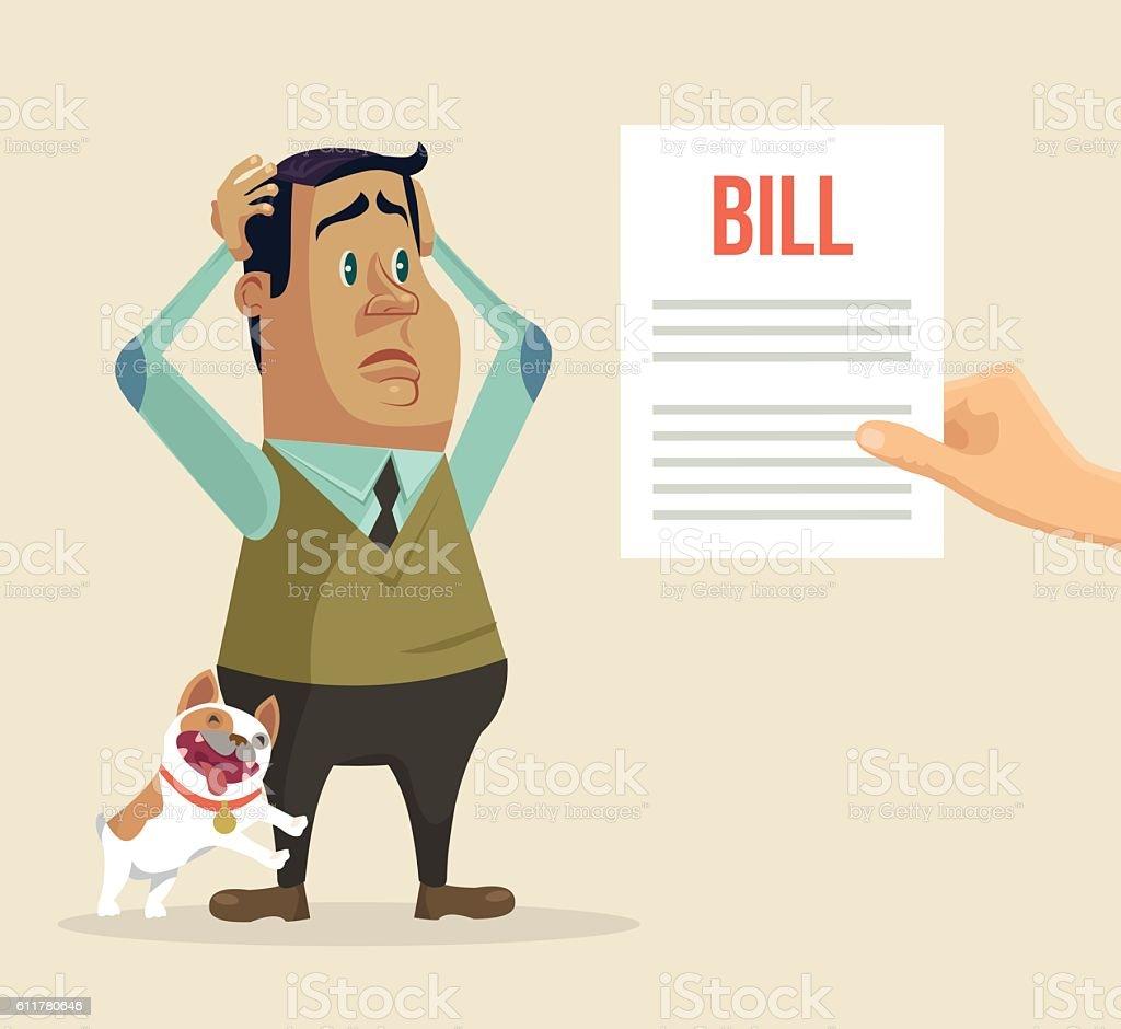 Shocked man character received bill. Vector flat cartoon illustration vector art illustration