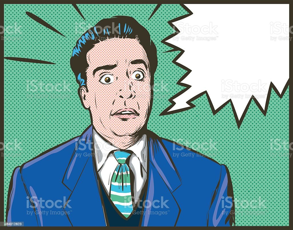 Shocked Man vector art illustration