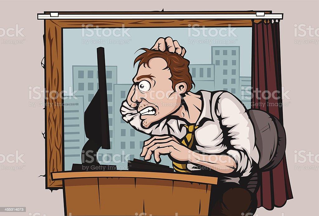 Schreibtisch büro comic  Schockiert Vektor Illustration 455314073 | iStock