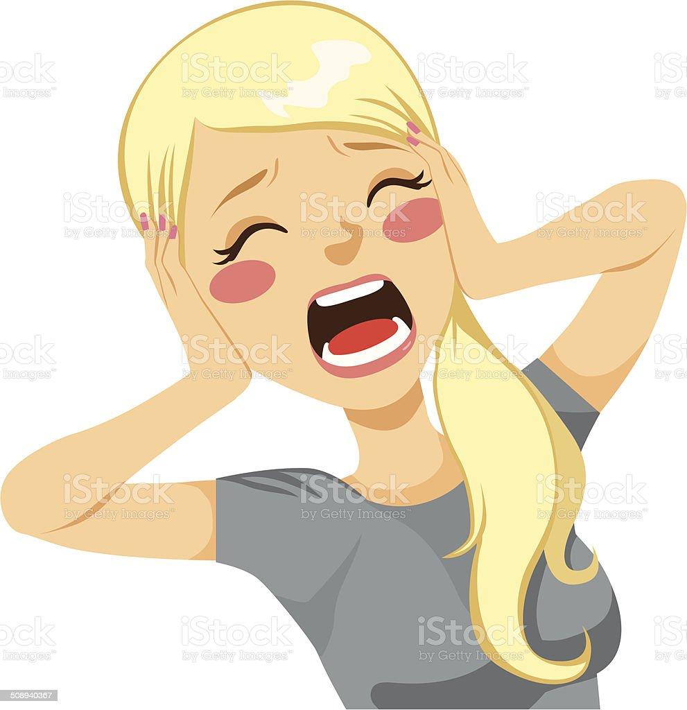 Shocked Woman Screaming vector art illustration