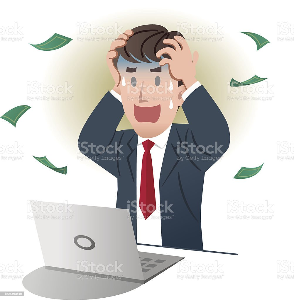 Shocking businessman holding the head vector art illustration