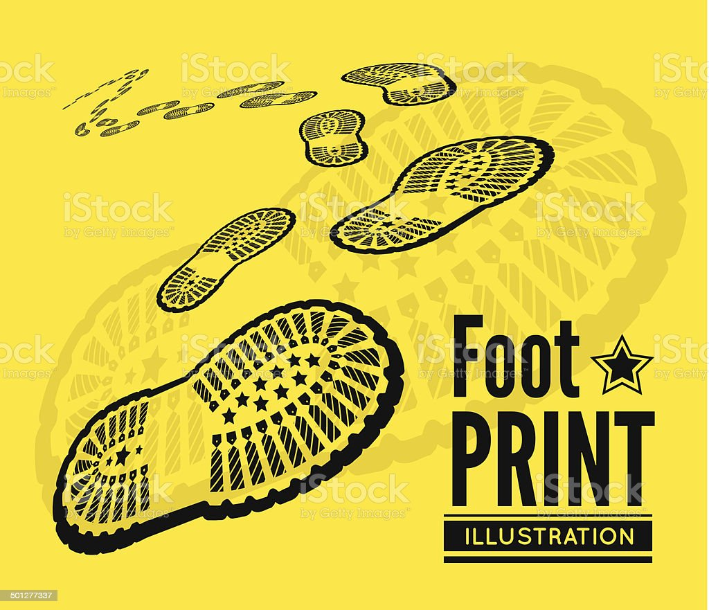 Shoe print vector art illustration