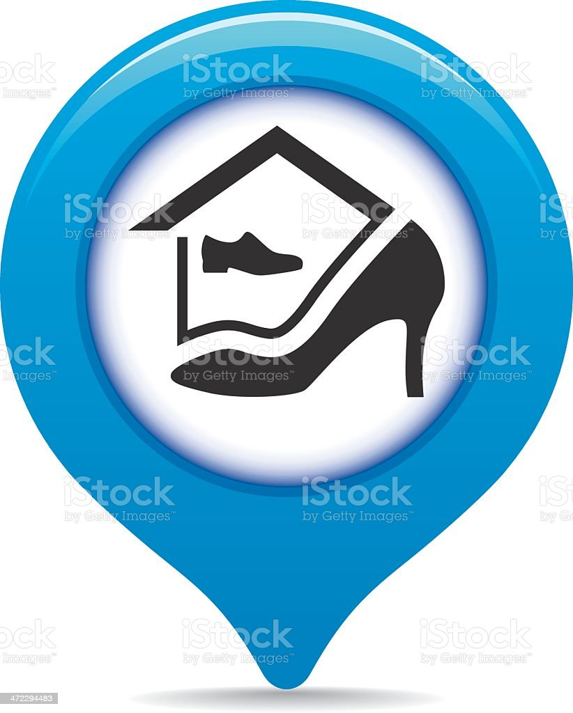 Shoe store map pointer royalty-free stock vector art